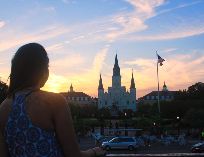 Overlooking the sunset at Jackson Square