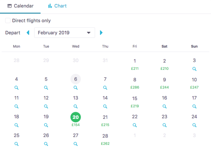 Example: Skyscanner search for the cheapest dates