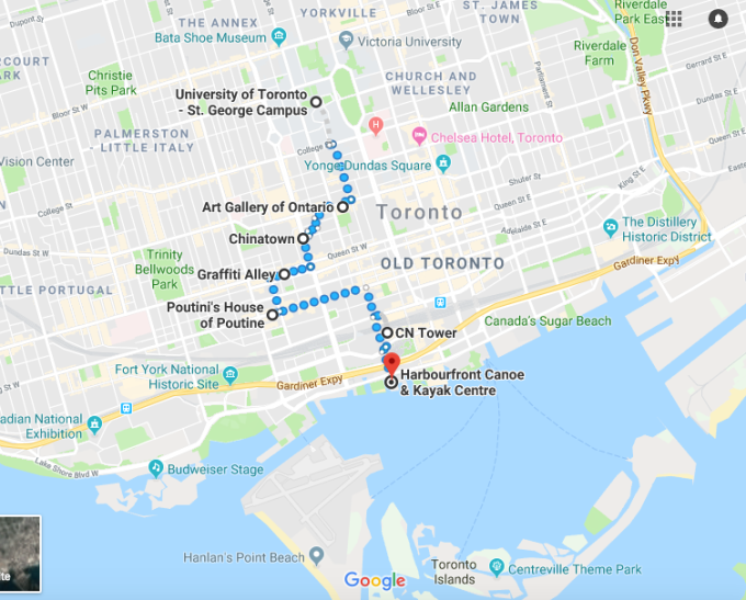 https://www.google.ae/maps/dir/University+of+Toronto+-+St.+George+Campus,+27+King's+College+Cir,+Toronto,+ON+M5S+3H7,+Canada/Art+Gallery+of+Ontario,+Dundas+Street+West,+Toronto,+ON,+Canada/Chinatown,+Old+Toronto,+Toronto,+ON,+Canada/Graffiti+Alley,+Toronto,+ON,+Canada/Poutini's+House+of+Poutine,+King+Street+West,+Toronto,+ON,+Canada/CN+Tower,+Front+Street+West,+Toronto,+ON,+Canada/Harbourfront+Canoe+%26+Kayak+Centre,+Queens+Quay+West,+Toronto,+ON,+Canada/@43.6453539,-79.4130625,13.51z/data=!4m44!4m43!1m5!1m1!1s0x882b34b8f331fd9b:0x8d1d9bb6765a76f7!2m2!1d-79.3956564!2d43.6628917!1m5!1m1!1s0x882b34c5ed5319bd:0xda277755ede046af!2m2!1d-79.3925123!2d43.6536066!1m5!1m1!1s0x882b34c4780028c7:0x1113062de1946014!2m2!1d-79.397226!2d43.650883!1m5!1m1!1s0x882b34dc5d1879bd:0xb1e3dea697e20389!2m2!1d-79.3995188!2d43.6477085!1m5!1m1!1s0x882b34de4e848b81:0x6d634af5bc356db0!2m2!1d-79.4009632!2d43.6441186!1m5!1m1!1s0x882b34d68a18c4c7:0x4bc3e6c710a8a933!2m2!1d-79.3870557!2d43.6425657!1m5!1m1!1s0x882b3529847f35ef:0xd171be7de010fd64!2m2!1d-79.3865463!2d43.6382019!3e2